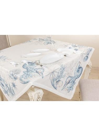 Gül Güler Baskılı Masa Örtüsü Sea Life 143074040410 Mavi